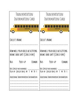 Transportation Information Card