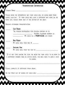 Transportation Information Form--B&W Chevron