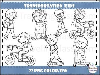 Transportation Kids  Clip Art