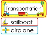 Transportation  Word Wall Weekly Theme Posters.
