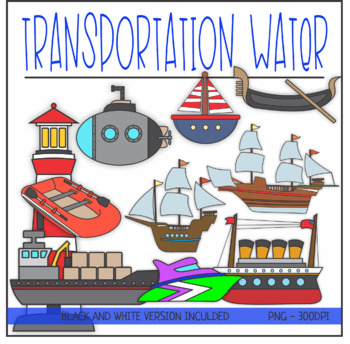 Transportation Land, Air, Water ClipArt BUNDLE by KM ...