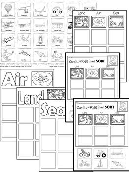 Transportation- Land, Air or Sea? Center Sorting Mats & Group Sorting Mats