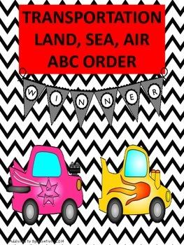 Transportation Land, Sea, Air ABC Order Packet