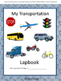 Transportation Lapbook, Preschool, Kindergarten, Autism, Special Education