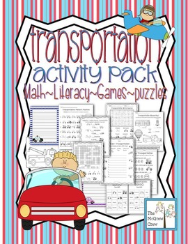 Transportation Activity Set K-1 Math Literacy Games Puzzles Centers Writing