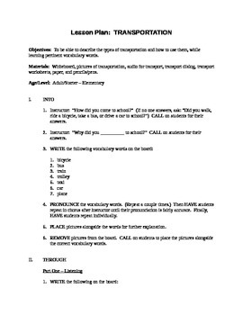 Transportation Lesson Plan + Worksheet & Dialogs
