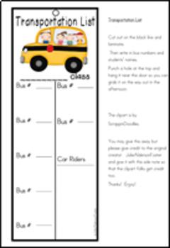 Transportation List FREEBIE
