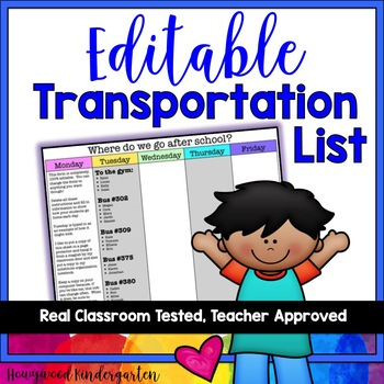 Transportation List to explain where everyone goes after school... EDITABLE!