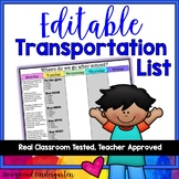Transportation List ... EDITABLE!