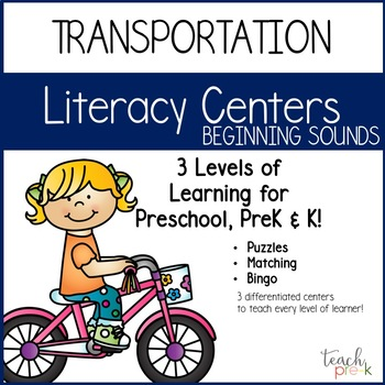 Transportation Literacy Centers:  Beginning Sounds for Preschool, PreK & K