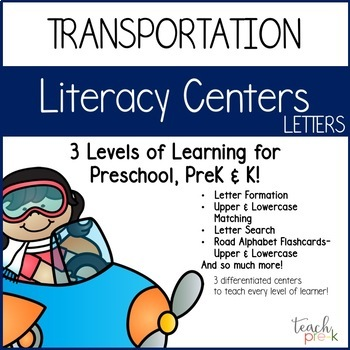 Transportation Literacy Centers Bundle for Preschool, PreK & K