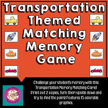 transportation matching memory game by early childhood resource center. Black Bedroom Furniture Sets. Home Design Ideas