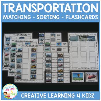 Transportation Matching Sorting Boards + Flashcards