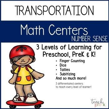Transportation Math Centers Bundle for Preschool, PreK & K
