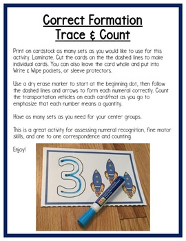 Transportation Math Centers: Numeral Formation & Writing for Preschool, PreK & K