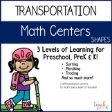 Transportation Math Centers: Shapes for Preschool, PreK & K