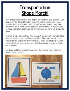 Transportation Math Centers: Shapes for Preschool, PreK & K