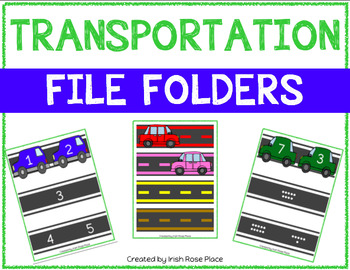 Transportation Math File Folders