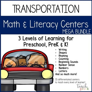 Transportation Math & Literacy Centers Mega Bundle