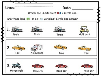 Transportation Math~ Same and Different Concepts
