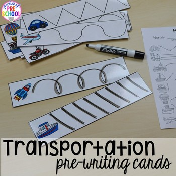 Transportation Math and Literacy Centers for Preschool, Pre-K, and Kindergarten