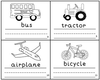 Transportation Mini Book Reader Vocabulary Writing Practice