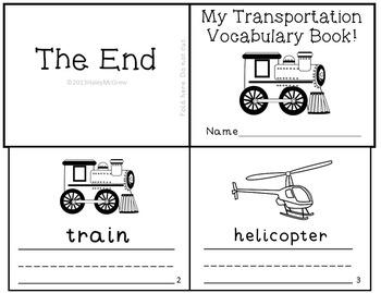 Transportation Mini Book Reader Vocabulary Writing Practice