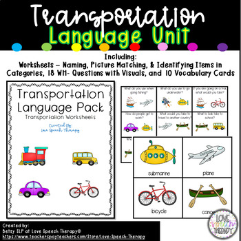 Transportation Mini Language Unit - No Prep & Minimal Prep