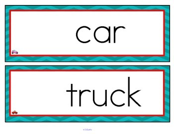 Transportation Word Wall  - Vocabulary Pictures Centers