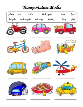 Transportation Modes Vocabulary