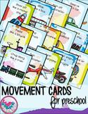 Transportation Movement Cards for Preschool and Brain Break