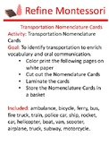 Transportation Nomenclature Cards