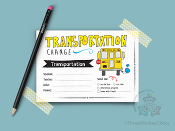 Transportation Note | Note for Teacher | School Excuse Not