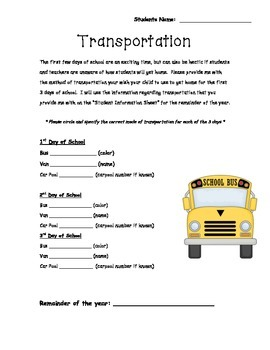 Transportation Notification for Beginning of the Year