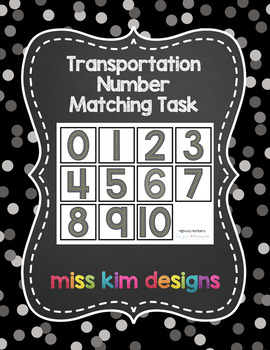 Transportation Number Matching Folder Game for Early Child