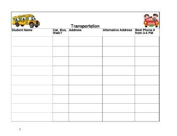 Transportation Organization Form
