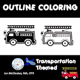 FINE MOTOR: Transportation Outline Coloring Skills Activities for Centers