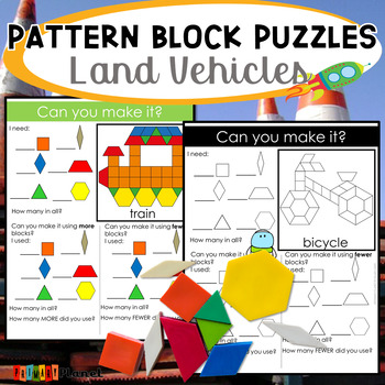 Transportation Pattern Block Mat Puzzles Land Vehicles
