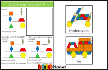 Transportation Pattern Block Mat Puzzles Land Vehicles