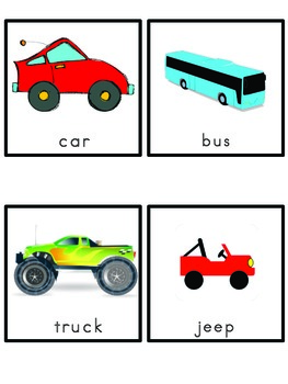 Transportation Picture Word Bank and Picture Cards