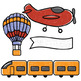 Free Transportation Clip Art - Plane, Train, Automobile, Ship, Hot Air Balloon