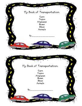 Transportation Predictable Reading Book