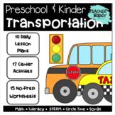 Transportation - Preschool Unit complete with lesson plans, centers, worksheets