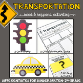 Transportation: Reading Comprehension, Writing and Craftivities