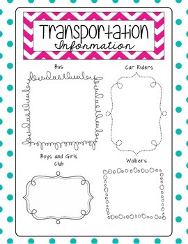 Transportation Recording Sheet