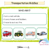 Transportation Riddles - Boom Cards™ Speech Therapy Distance Learning