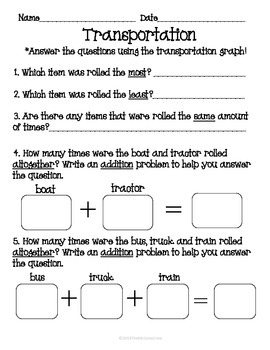 Transportation Roll Tally Graph Math Activity Set
