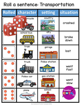 Transportation Roll and write a sentence or story