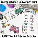 Transportation Scavenger Hunt BOOM Cards for PreK Speech & Distance Learning