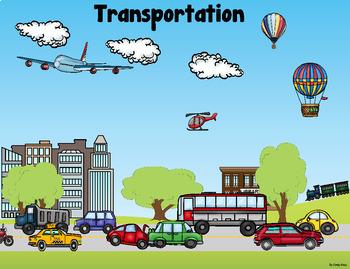 Grammar (Nouns, Verbs, Adj), Math, Writing ~ Transportation Scene Card
